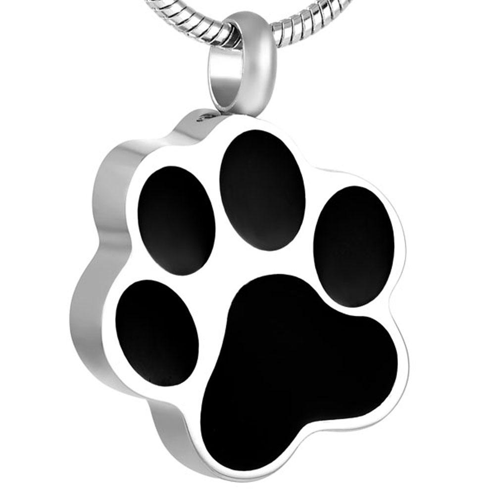 I Love My Dog Pet Paw Cremation Urn Necklace Ash Memorial Keepsake Stainless Steel Pendants Gift For Boy, Girl, Lover, Friends image