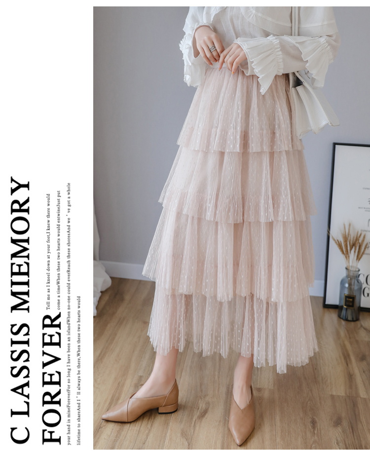 Fitaylor Spring New Sweet Cake Layered Long Mesh Skirts Princess High Waist Ruffled Vintage Tiered Tulle Pleated ins Skirts 2