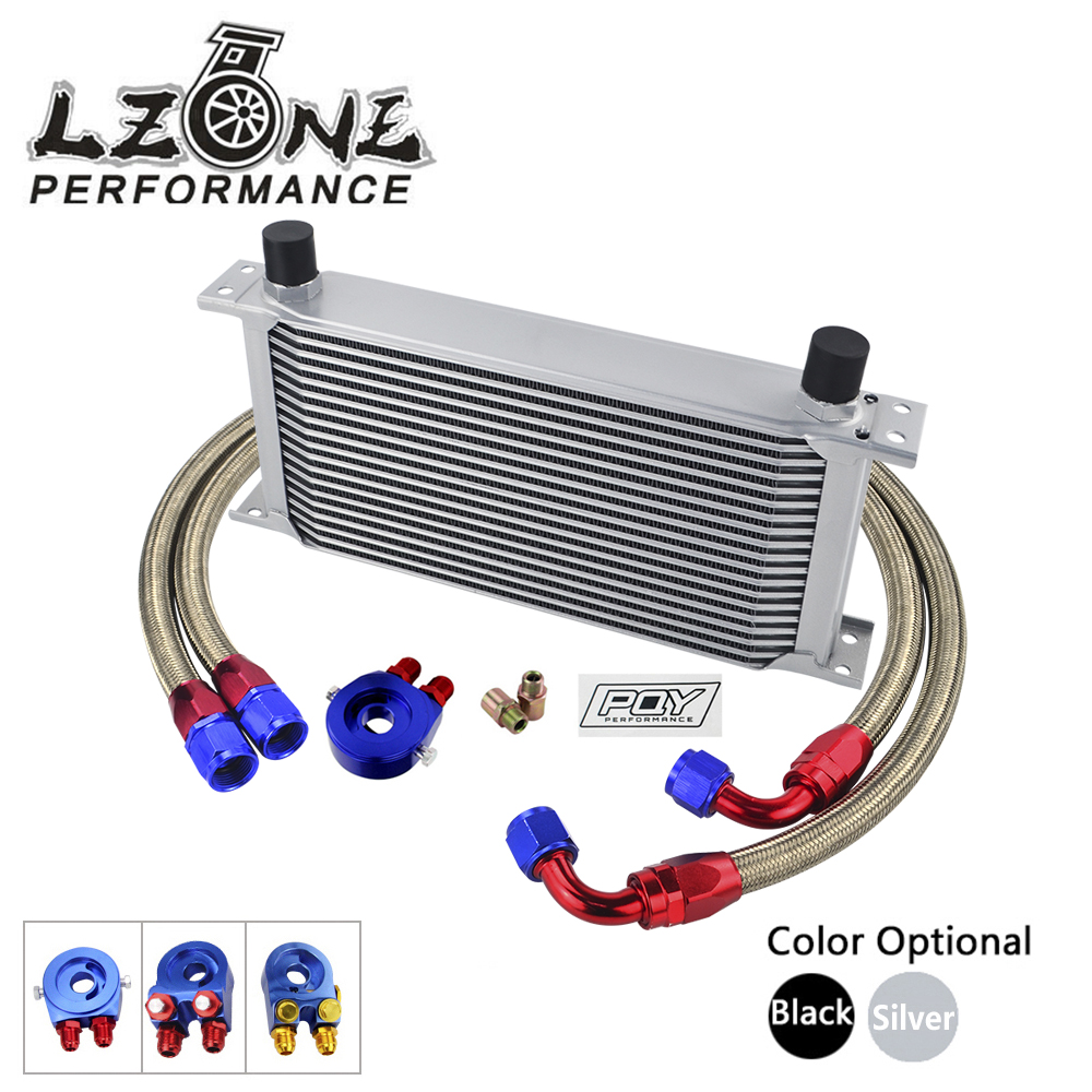 LZONE - AN10 19ROWS TRANSMISSION OIL COOLER KIT + OIL FILTER ADAPTER + NYLON STAINLESS STEEL BRAIDED HOSE WITH PQY STICKER+BOX топливоснабжение pqy an10 pqy6721
