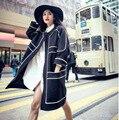 Новая зимняя платье черно-белый шить вне пальто пыли