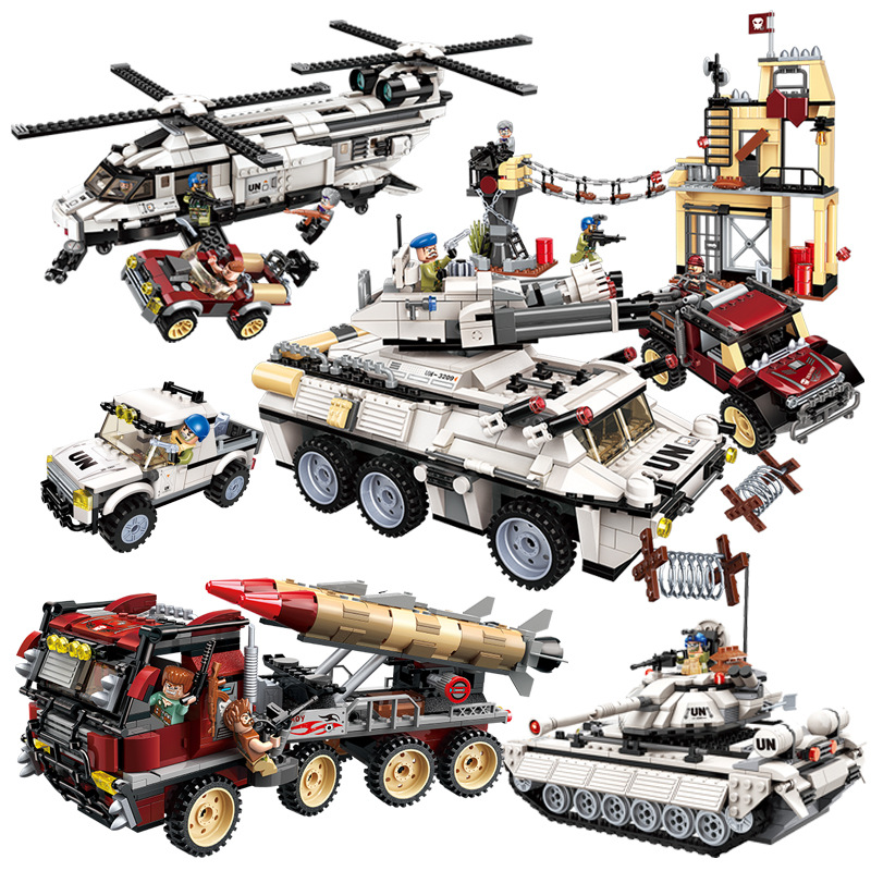 Military Building Blocks War Tank Panzer Chinook Helicopter Car Vehicle Army Weapon UN Force Compatible LegoING Playmobil Bricks