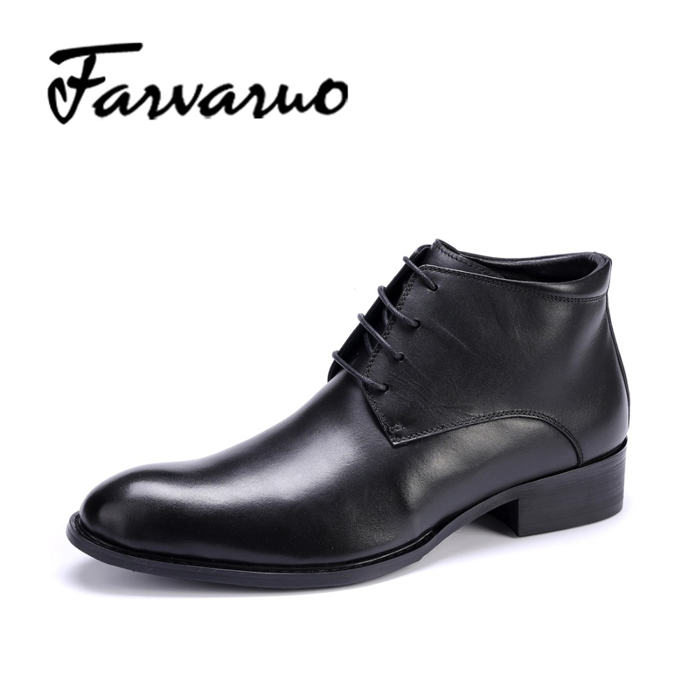 Farvarwo Winter Flats Round Toes Boots Men Genuine Leather Casual Ankle Snow Boots Winter Shoes Mens Plush Martins Lace up Black farvarwo formal retro buckle chelsea boots mens genuine leather flat round toe ankle slip on boot black kanye west winter shoes
