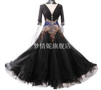 Стандартный Бальные платья для танцев Женская с длинным рукавом белого Цвет Танго вальс костюм конкурс бальных танцев платья черный