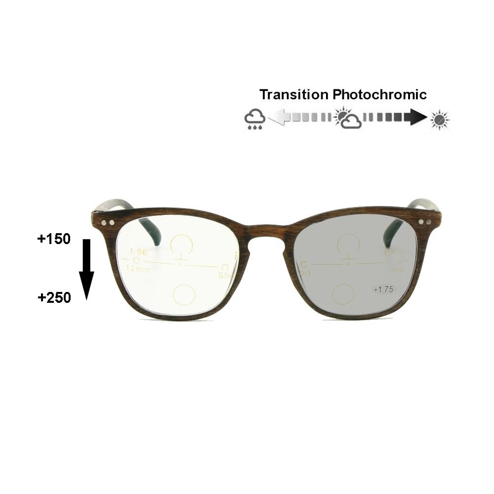 Transición Photochromic progresiva enfoque gafas de lectura Retro Nerd Varifocal ninguna línea Gradual hipermétrope UV400 sol