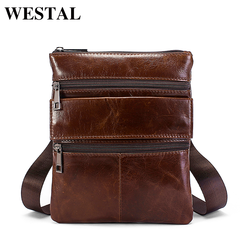a3c59fb58f33 US $15.64 45% OFF|WESTAL Crossbody Bags Male Genuine Leather Mens Bags  Casual Zipper Messenger Bag Men Shoulder Bag Men Leather Pouch 7901 on ...