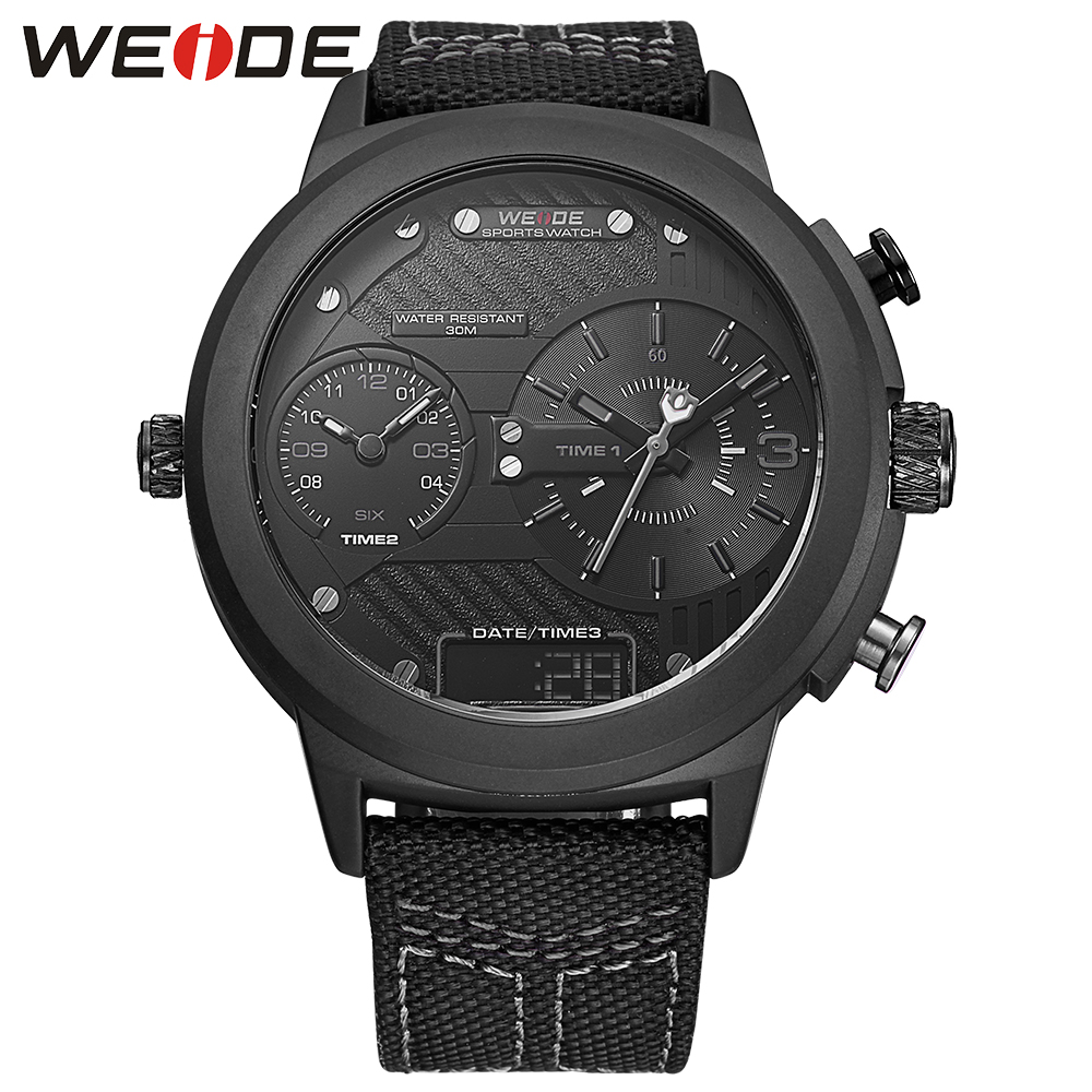 WEIDE Brand Men Sports Watches Men's Quartz Canvas Strap Multifunction Military Watch Analog Digital Waterproof Wristwatches weide new men quartz casual watch army military sports watch waterproof back light men watches alarm clock multiple time zone