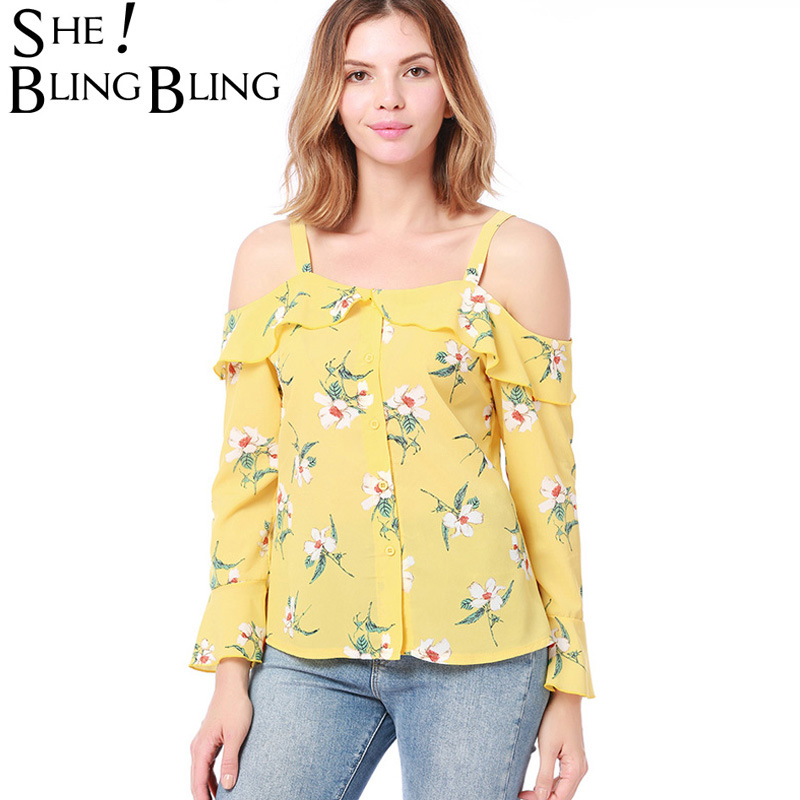 SheBlingBling Summer Women Casual Floral Print Cold Shoulder Long Sleeve Chiffon Blouse Backless Shirt Buttons Strap Blouses