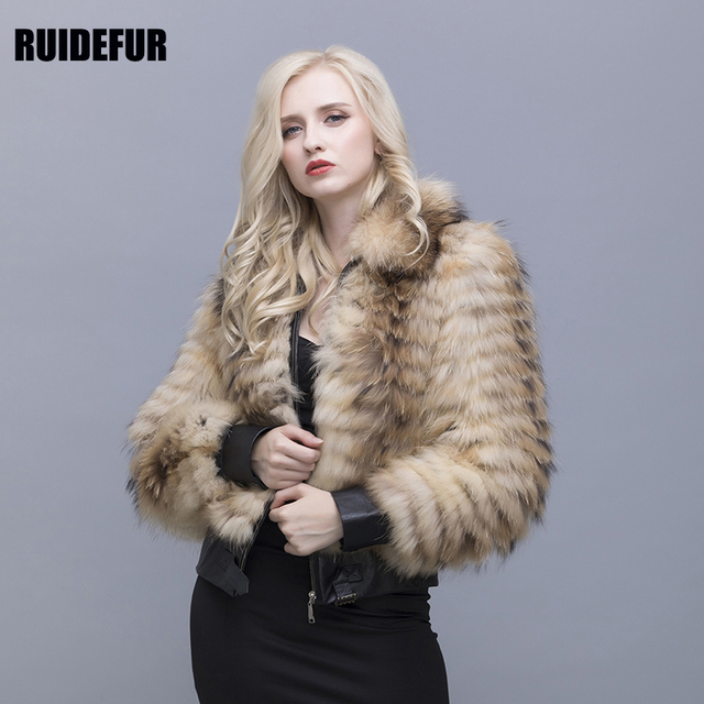 RUIDEFUR The Real Pure Natural Raccoon Fur Coat Leather Cuffs With Zips Short Jacket For A Woman Who Keeps Warm In Winter