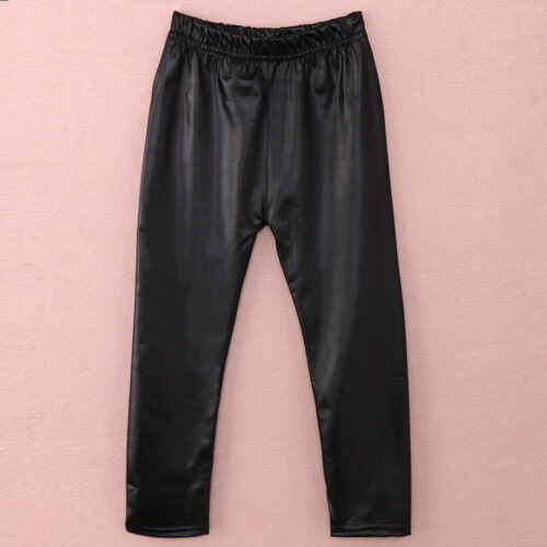 2019 New Hot Sale Toddler Girls Baby Stretchy PU Leather Pants Kids Warm Skinny Leggings Black
