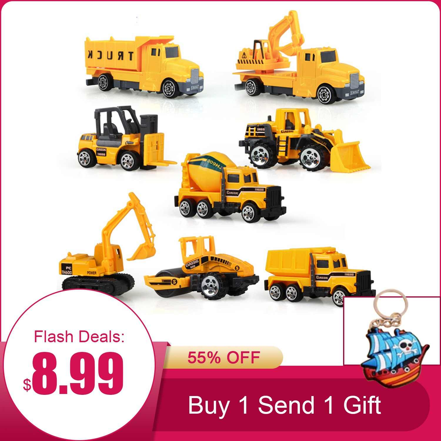 Coolplay 8Pcs/Set Mini Alloy Engineering Car Model Tractor Toy Dump Truck Model Classic Toy Vehicles Mini Gift For Boys