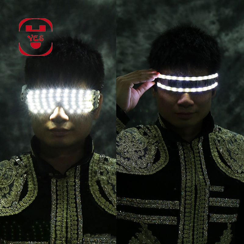 YES LED luminous Gloves Glasses Singer Dancer Nightclub Bar Stage Performance Show Light Up Props Party Supplies Costumes