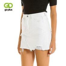 GOPLUS Summer Denim Skirt Women Vintage Casual White A-Line Hollow Out Mini Faldas Mujer Moda 2019 Streetwear C8044