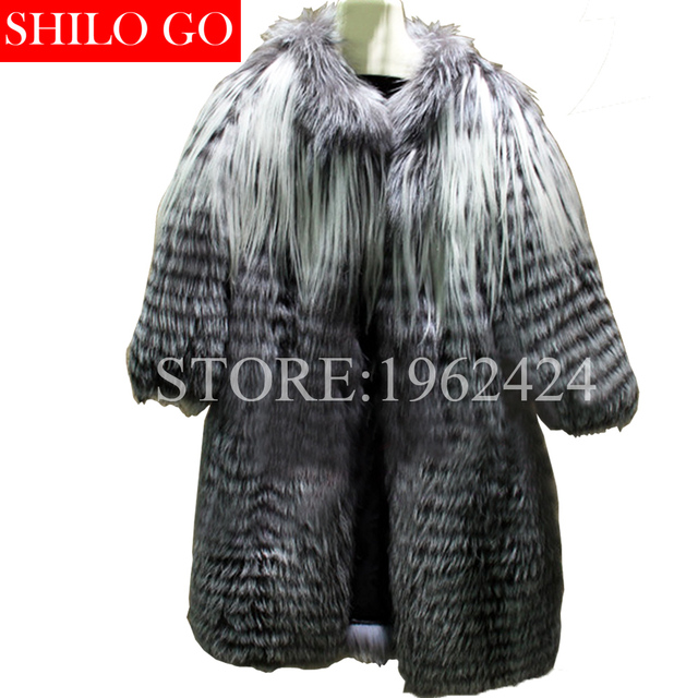 2017 new winter fashion women high quality fox fur grass gold wool goat wool whole skin silver fox natural pumping long fur coat