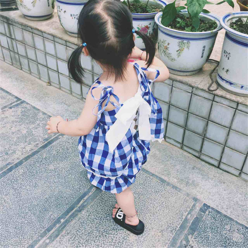 New fashion Autumn Infant girls rompers plaid kids clothes jumper suit cotton sleeveless rompers baby belt bodysuit