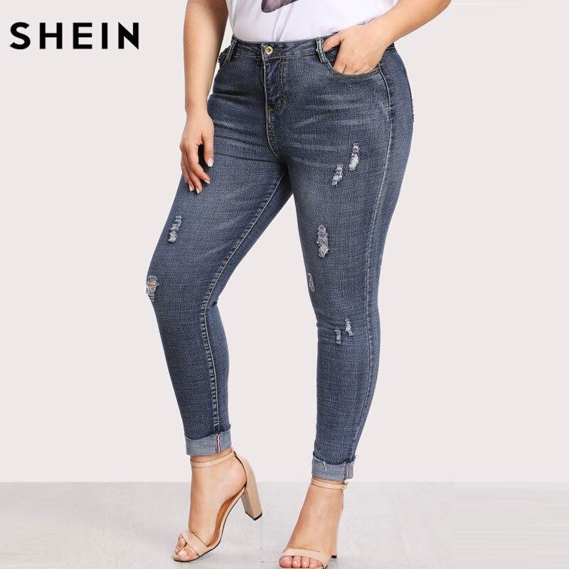 Шеин Повседневное Большие джинсы Высокая Талия Для женщин карман сзади рваные брюки тонкие джинсовые брюки для Женская на весенний сезон о...