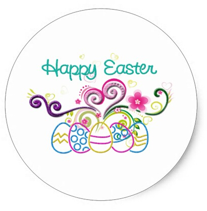 3 8cm happy easter glitter eggs floral classic round sticker