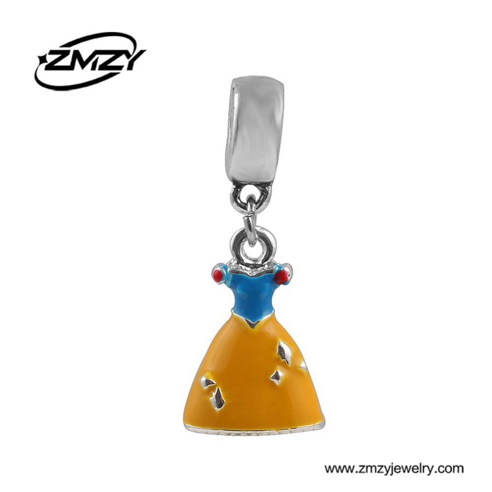 Top Quality Metal Belle Dress Silver Plated Pendant Beads with Enamel DIY Jewelry fit Charms Pandora Bracelets for Gril Gifts