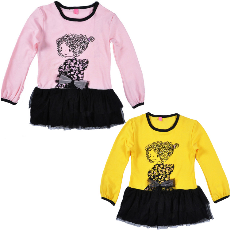 New Autumn Children Dress Baby Girls Dresses Kids Girl Pattern Bow Long-Sleeved Lace Princess Casual Dress For Party ropa ninos
