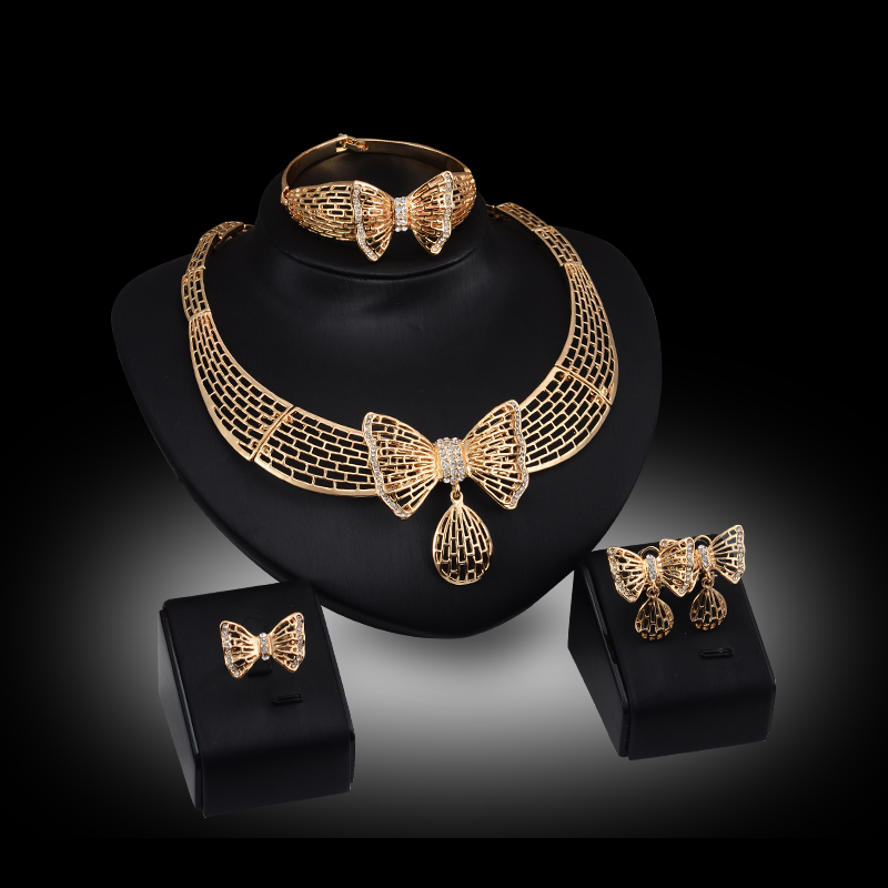 Dubai African Costume Jewelry sets Gold Color Crystal Butterfly