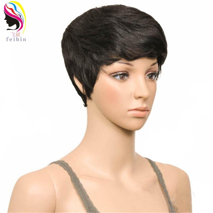 Feibin Korta Paryk till Svarta Kvinnor Syntetiska Paryk Blond Svart Brun Full Head Nature Curly Hair 4inches