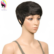 Feibin Short Wigs for Black Women Synthetic Blonde Brown Red 27PCS Full Head Nature Curly Hair 4inches