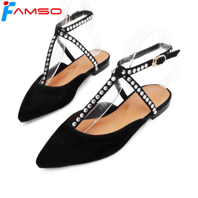 FAMSO Big Size 2018 Women Shoes Gladiator Sandals Shoes Black Casual Slides Summer Rhinestone Sheepskin Genuine Leather Sandals phyanic 2017 gladiator sandals gold silver shoes woman summer platform wedges glitters creepers casual women shoes phy3323