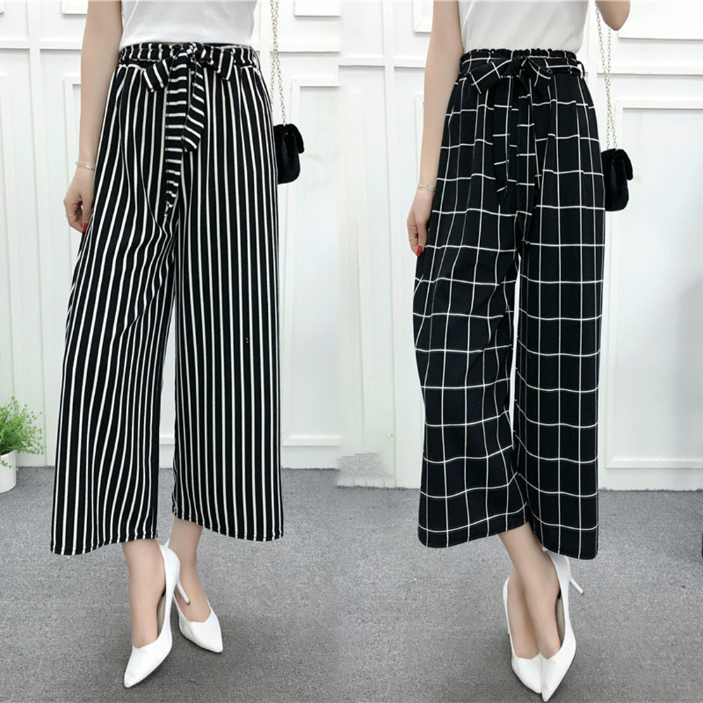 Faylisvow Summer   Wide     Leg     Pants   Women Elegant Bow Belt Striped High Waist Loose Trousers Korean Style Autumn Office Ladies   Pants