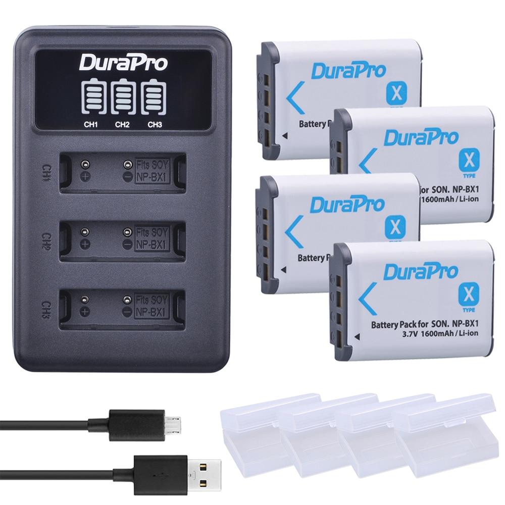 4 Unid NP-BX1 NP BX1 NPBX1 batería + LED 3 Puerto cargador USB para SONY DSC RX1 RX100 RX100iii M3 m2 WX300 HX300 HX400 HX50 HX60 GWP88