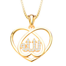 New Unique Heart Allah Zirconia Pendants Jewelry Bride Pendant & Necklace 18K Gold Plated Fashion Jewelry Women Gift P30134