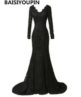 Elegant Long Sleeve Lace Prom Dresses 2016 Black Mermaid Evening Dresses Long Vestidos De Festa Curto