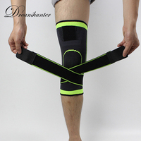 1PCS Straps Pressurized Sports Knee Pads 3D Weaving Basketball Tennis Hiking Cycling Knee Brace Support Professional