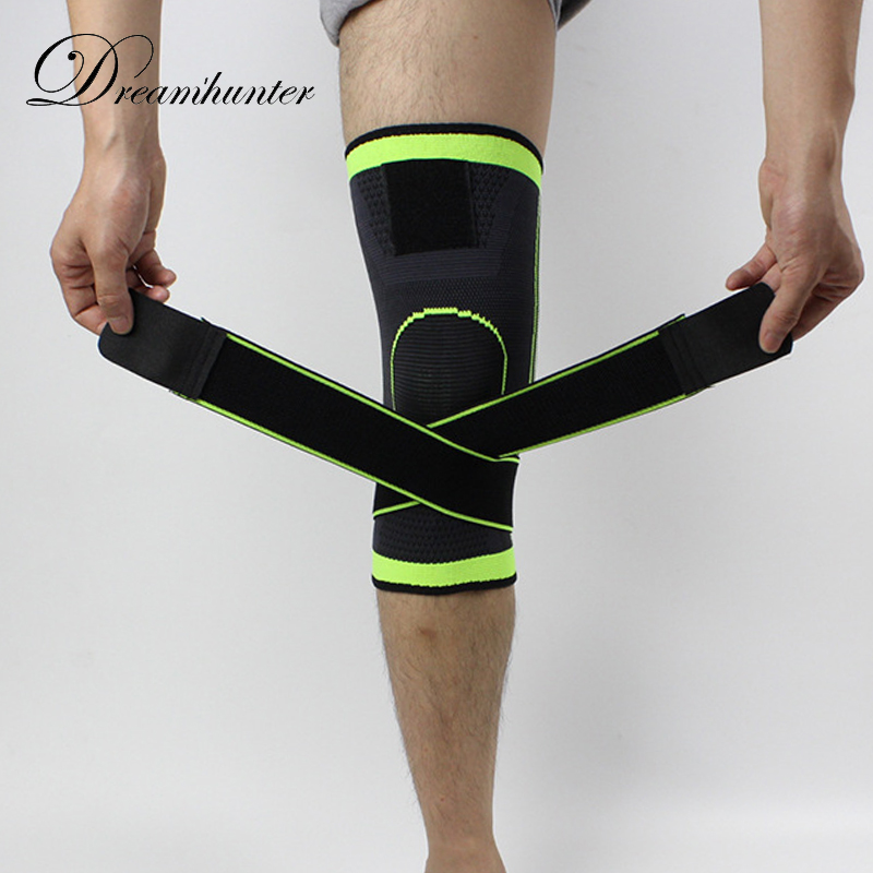 1 PZ Cinghie ginocchiere Sport 3D weaving Pressurizzato basket tennis escursionismo escursioni in bicicletta knee brace support protezione professionale