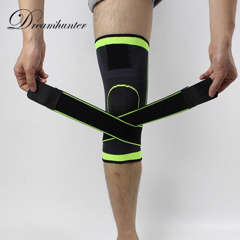 1pc Straps Pressurized Sports Knee pads 3D weaving basketball tennis hiking dizlik knee brace support professional protector 4XL