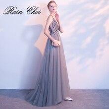 Prom Gown V-neck Gray Vestido De Noche Sleeveless A-line Backless Long Formal Dresses