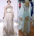 Haute Couture 2016 Cuadro Verdadero de Un Hombro Escarpado Oro Apliques de Baile Vestidos de Noche