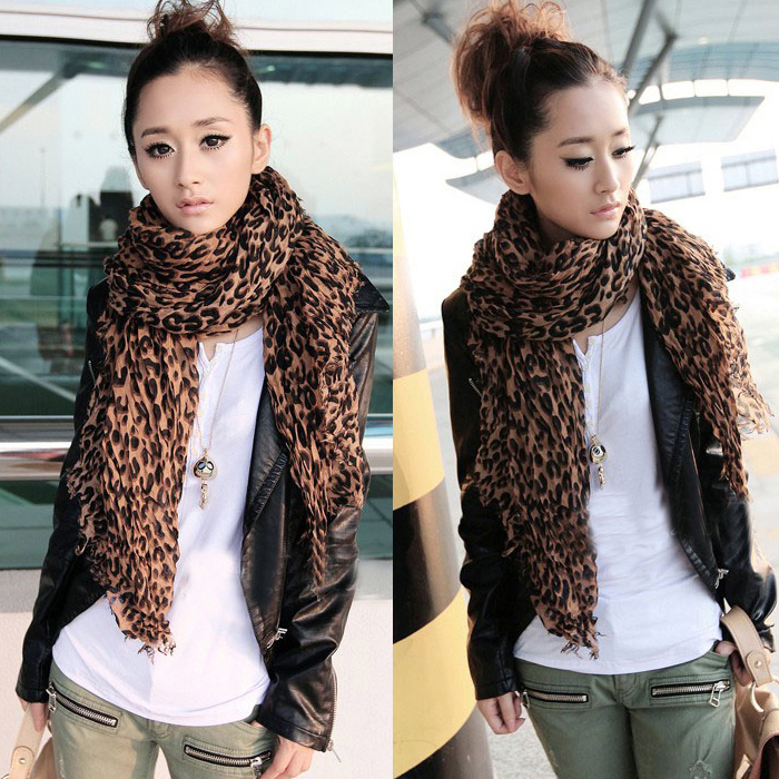 Autumn And Winter Female Classic Leopard Cotton Wild Folds Scarf Thin Cotton Shawl Scarf Cheap Wholesale Free Shipping