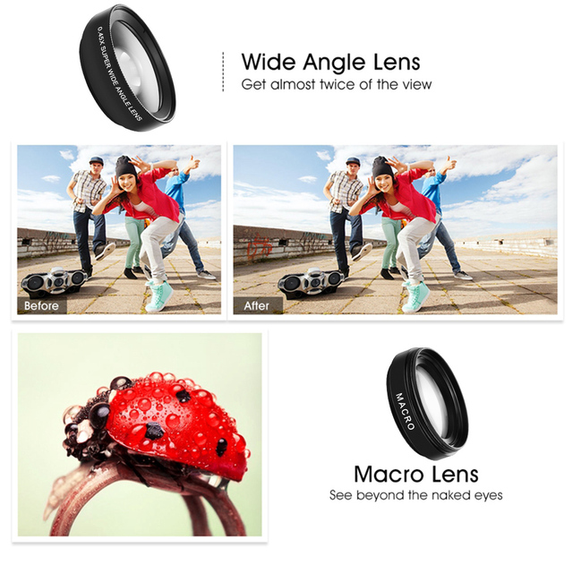 2 Functions Mobile Phone Lens 0.45X Wide Angle Len & 12.5X Macro HD Camera Lens Universal for iPhone Android Phone 2