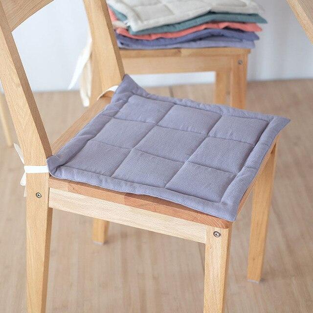Japan Style Solid Color Cotton Linen Chair Cushion Multi Purpose Thin Seat  Cushion 40x40cm/