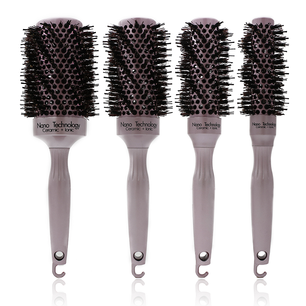 Rose Gold Boar Bristle Aluminum Round Brush Hairdresser Ceramic Thermal Comb For Curly Hair Styling Brushes Hair Tools Salon