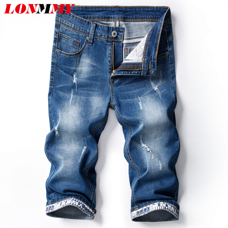 LONMMY Denim Shorts Mens Clothing fashion Hollow Out Casual Shorts Men Hip hop jeans Cotton Acetate 2018 Summer Slim Fit New new arrival men jeans hollow out ripped distressed jeans man denim blue stretch slim fit hip hop fashion casual