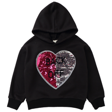 Girls hoodie autumn and winter new fashion sweater long-sleeved love sequins sweatshirt pullover casual warm cotton top clothing