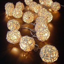 20 ротанговый шар светодиодный светильник теплый белый Сказочный праздничный светильник для вечерние светильник s гирлянда MF999