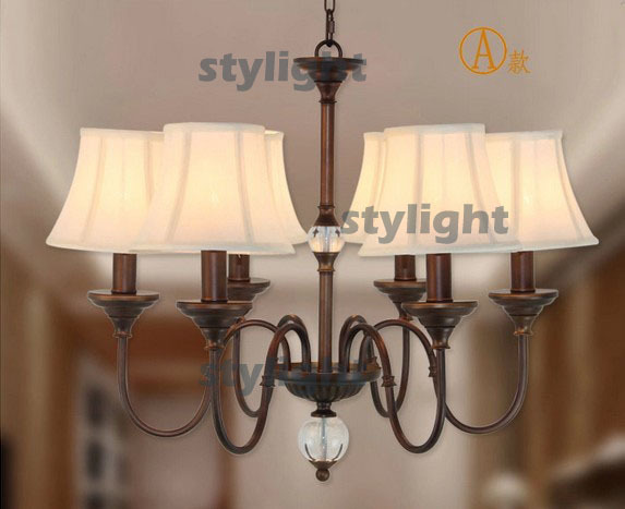 CRYSTAL BALL pendant lamp American country style Dining Room Living Room bedroom Bar Light fabric shade Chandeliers 6 heads a1 master bedroom living room lamp crystal pendant lights dining room lamp european style dual use fashion pendant lamps
