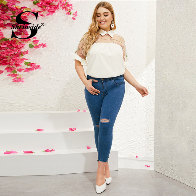 Sheinside Plus Size White Contrast Mesh Embroidered Blouse Women 2019 Summer Half Sleeve Blouses Ladies Flounce Sleeve Top 3