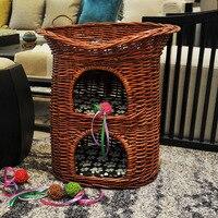 Домашние кровать 3 х слойные Неокрашенная, плетеная плетения кошка гнездо вилла для щенков, собак, Four Seasons дом любимчика моющиеся полка кошач