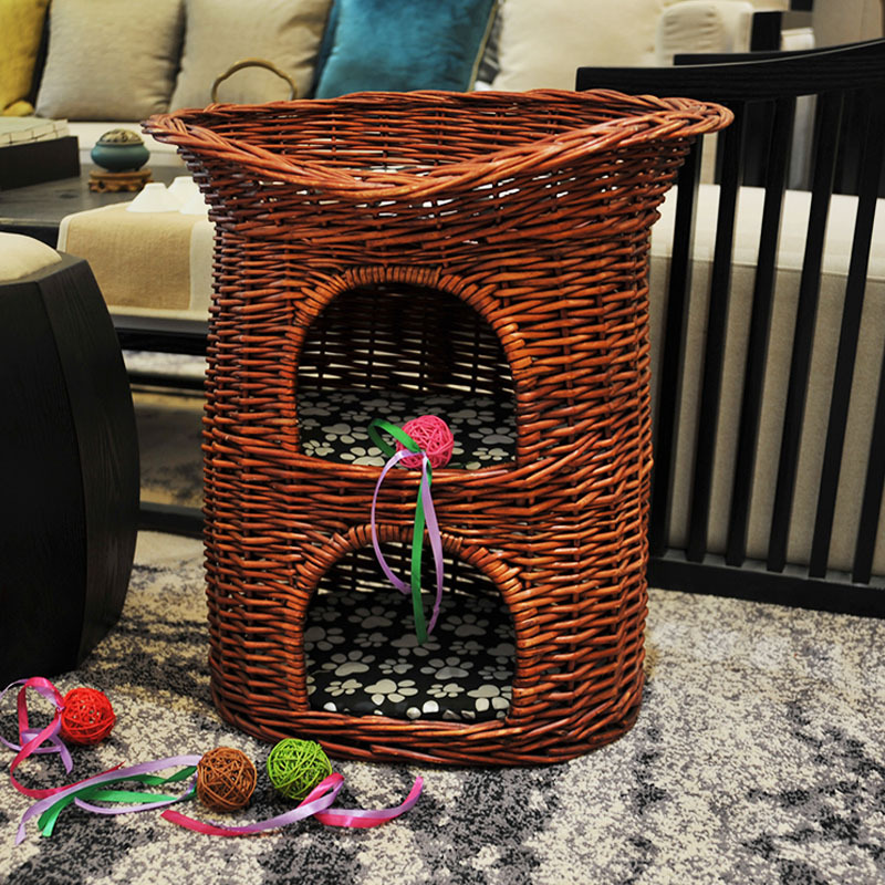 Pets Bed 3-layer Natural Wicker Weaving Cat Nest Villa for Puppy Dogs Four Seasons Pet House Washable Shelf Cat Cage Mat BasketPets Bed 3-layer Natural Wicker Weaving Cat Nest Villa for Puppy Dogs Four Seasons Pet House Washable Shelf Cat Cage Mat Basket