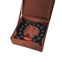 "LiiJi Unique Matte Black Onyx Red Jaspers Men or Women Bracelet 9"" with Silk Box Men Jewelry Leo Lovers Energy Balance Bracelet"