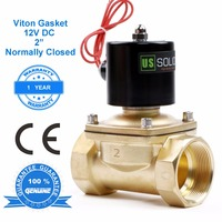 U.S. Solid 2 Brass Electric Solenoid Valve 12V DC Normally Closed for Air Water Diesel, CE Certified, NPT or G Thread