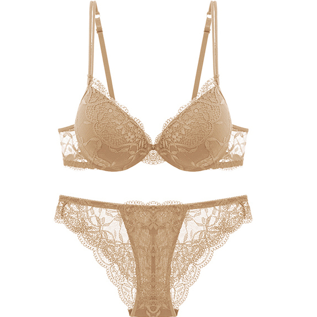 9ac2ffca909 Ladies Secret Women Lace Nude Push Up Bra Set Top A B C Cup Underwear  Lingerie Sexy Panties Embroidery Floral Free Shipping BH