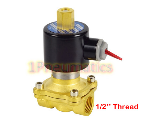 Free Shipping Wire Lead Normally Open Water Brass 1/2 Electric Solenoid Valve Water Air N/O 12VDC 2W160-15-K free shipping 5pcs g3 8 normally open brass electric solenoid valve dc24v n o